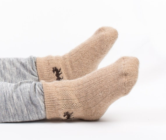 100/% CAMEL WOOL SOCKS WARM SOFT KIDS SIZE 11 Natural NOT Itchy Made Mongolia