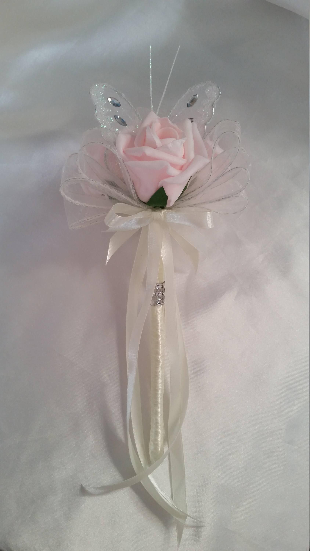 PURPLE WHITE Wedding Flowers Bridesmaids Bouquet Flower Girl Butterfly Wand