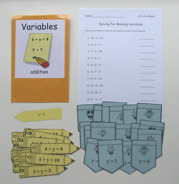 Teacher Made Math Center Learning Resource Game Variables Addition