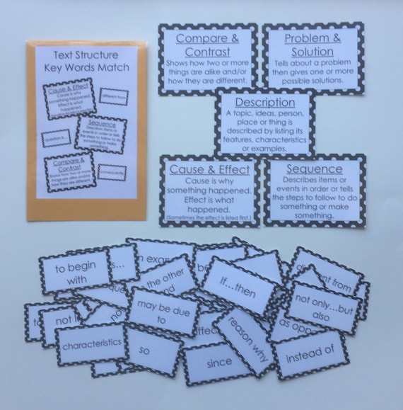Teacher Made Literacy Center Learning Game Text Structure Signal Words Match