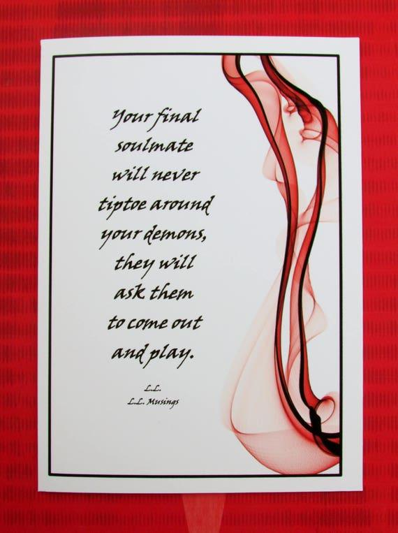 Romantische Kartejahrestag Tag Kartegeburtstagskarte Tiptoe Um Ihre Dämonen Gedicht Von Ll Llmusings