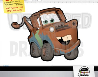 Tow Mater Disney Cars Movie SVG Patterns PNG Image With Excellent Resolution Papercraft Applications Stickers Scrapbook And More