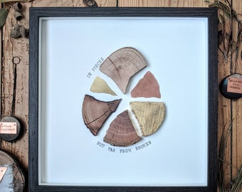 In Pieces but far from Broken // Framed Wood-slice Wall Art