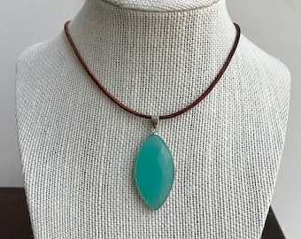 Leather Choker*Pendant Necklace*Aqua Glass Pendant*Boho Necklace*Summer Jewelry*Beach Jewelry*Blue Necklace*