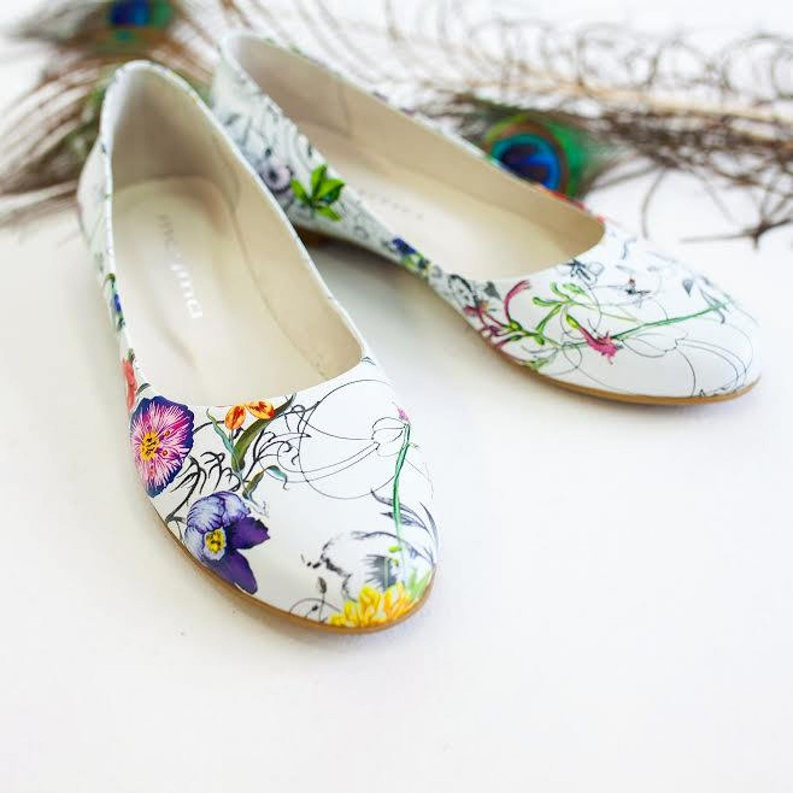 mamda shoes ballet women's flat shoes white floral