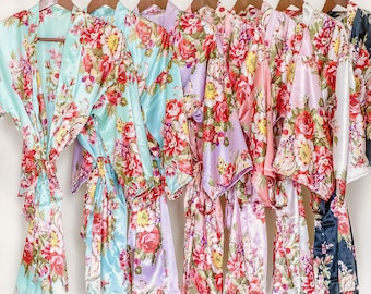 FINAL SALE!!! Soft satin floral bridesmaid robe (Optional Personalization)