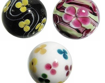 Golden Orchid HOM Glass Marbles collectable 16mm Beautiful