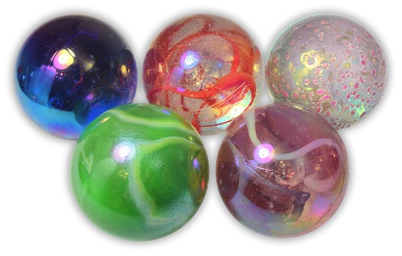 """7//8/"""" NEW 5 x 22mm /""""BUTTERFLY/"""" SHOOTER MARBLES STUNNING"""