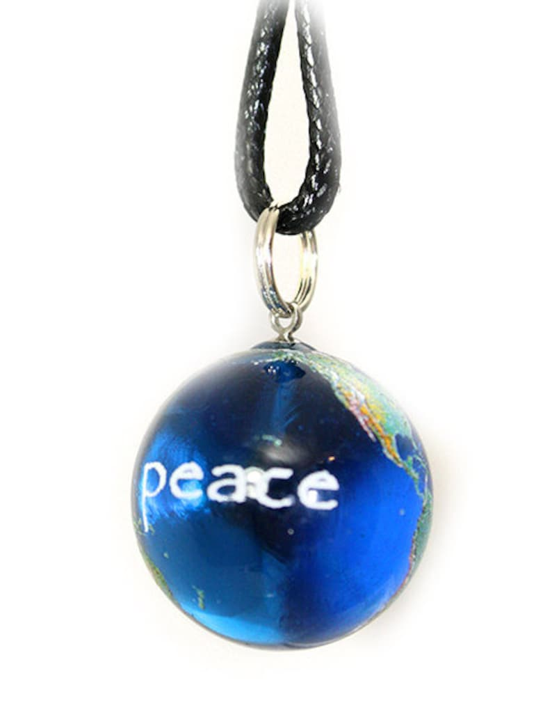 78 Inch Blue Recycled Glass Earth Orb w Black Waxed Cotton Cord Peace on Earth Marble Necklace