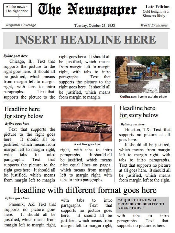 Front Page Newspaper Template Layout 1 Instant Download To Etsy