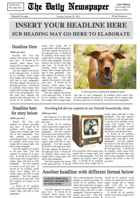 Fake Newspaper Template from i.etsystatic.com