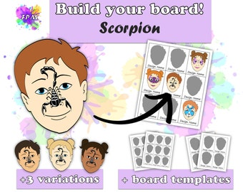 Face Paint Design Scorpion - Includes variations and Face Paint Board Templates - Digital Download