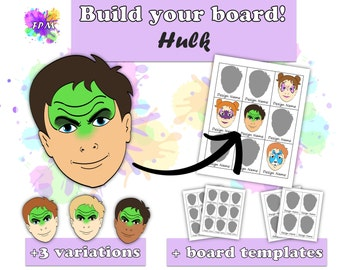 Face Paint Design Hulk - Includes variations and Face Paint Board Templates - Digital Download