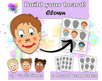Face Paint Design Clown - Includes variations and Face Paint Board Templates - Digital Download