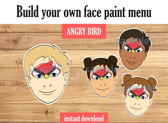 Face Paint Angry Bird Includes Variations And Face Paint Etsy