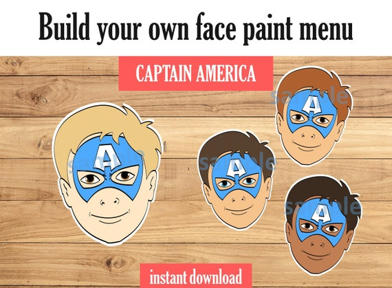 Face Paint Menu Board Captain America Includes Variations Etsy