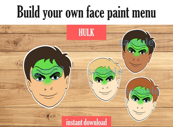 Face Paint Menu Board Hulk Includes Variations And Face Etsy