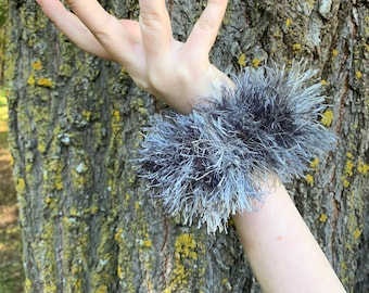 Fun Fur Crochet Scrunchies-gray
