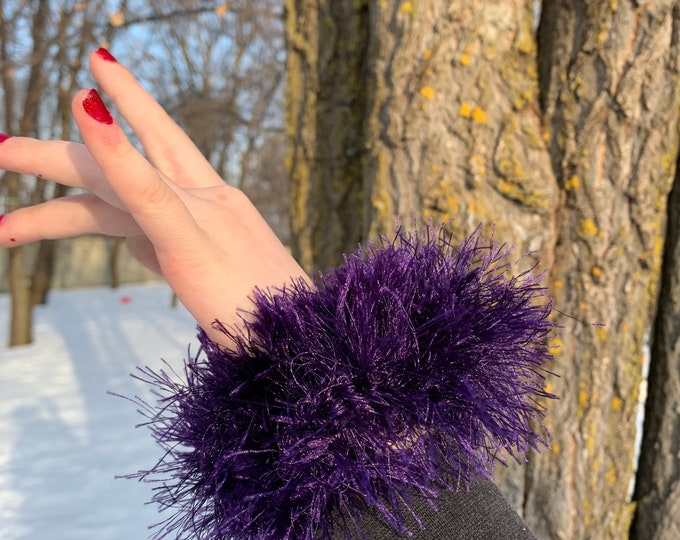 Fun fur hair scrunchies-purple