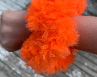 Fun faux fur crochet Scrunchies-neon orange-more fluffy