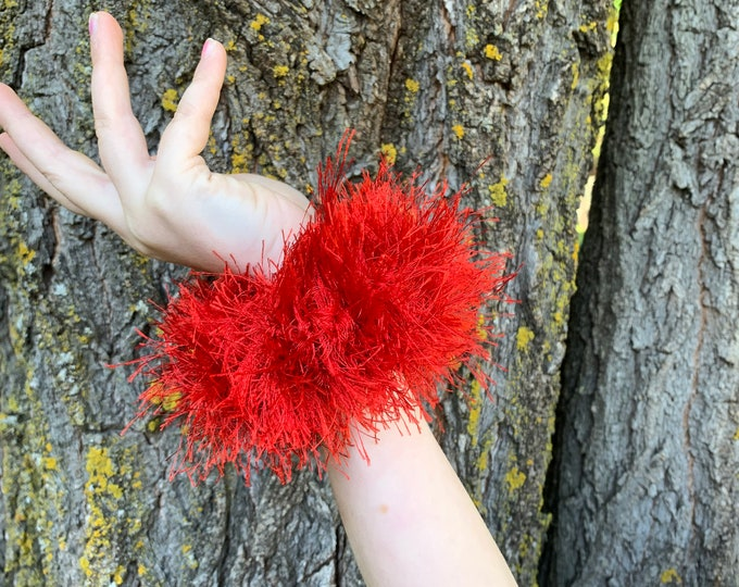 Fun Fur Crochet Scrunchies-red