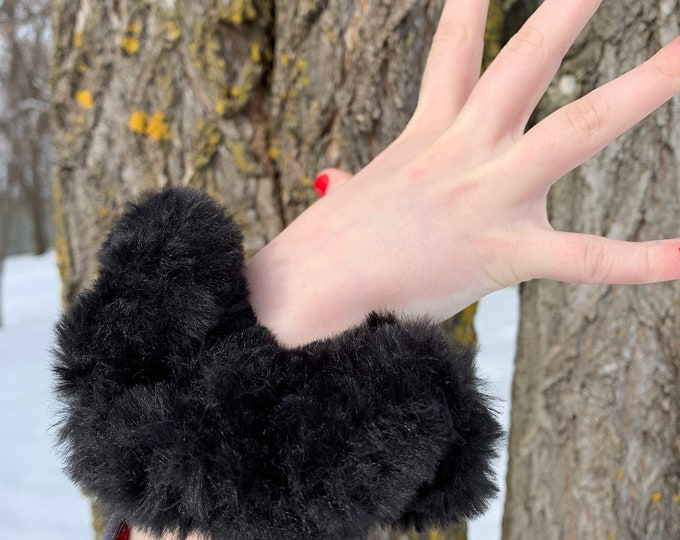 Fun Faux Fur Scrunchies-black