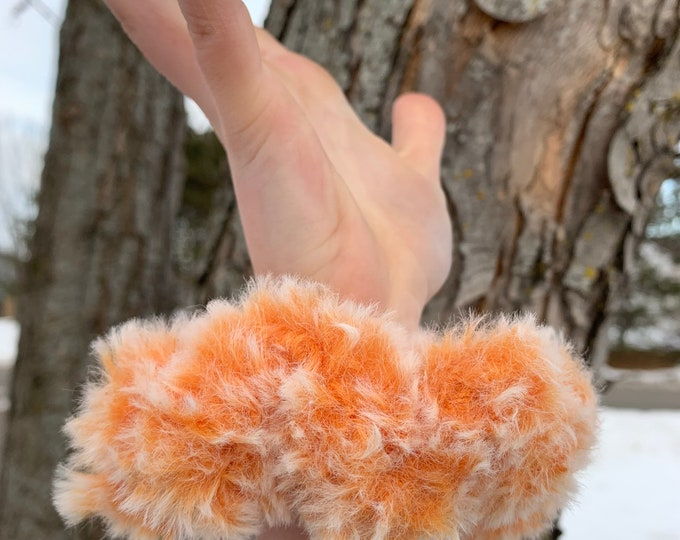 Faux fur crochet scrunchies-orange creamsicle