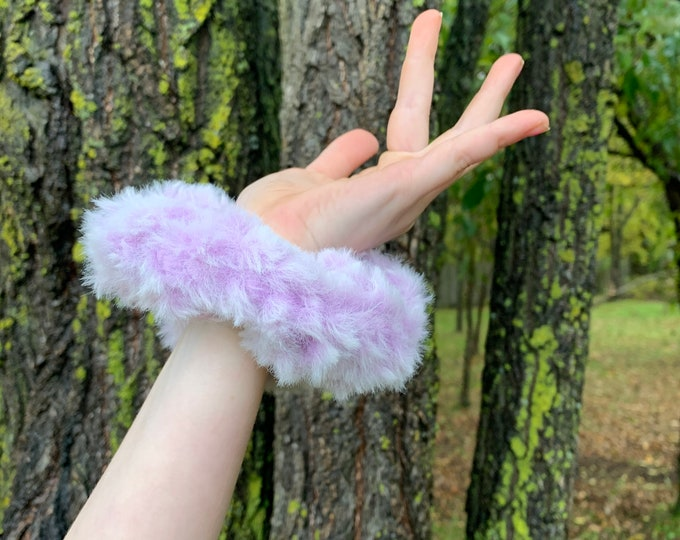 Fun Faux Fur Crochet Scrunchies-light purple