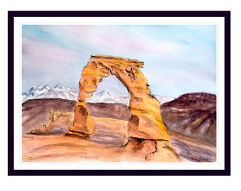 Delicate Arch, Arches National Park Painting Art Print Decor Poster, Nature Desert Art Wall Decor, Holiday Gift for All, Erica Prasad