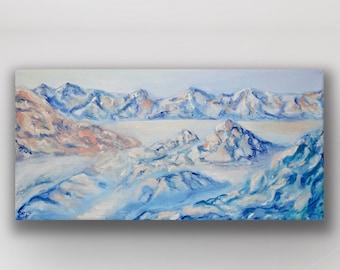 ORIGINAL Zabriski Point Death Valley National Park Gift Art Painting, Travel Nature Artwork, Oil Painting Original Mountain Art Erica Prasad