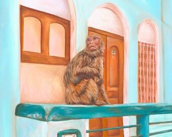 Bohemian Monkey Original Oil Painting, Print Teal Orange Wall Art Decor Boho India Erica Prasad