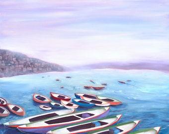 India Varanasi Boats Ganges River Art Bohemian Original Oil Painting, Print Purple Blue Colorful Wall Art Decor Boho Erica Prasad