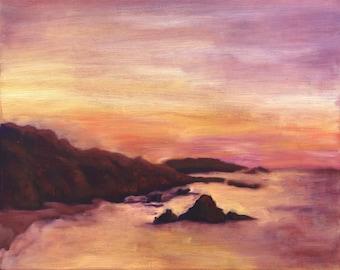 Ocean Sunrise Original Oil Canvas Painting Art, California Pacific Coast Highway, Pink Wall Decor, Seascape Nature Art, CA, Erica Prasad