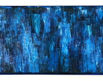 ORIGINAL Oil Abstract Blue Art Painting, Oil Painting on Canvas, Rain Water Inspired Artwork, Calming Relaxing Art by Erica Prasad