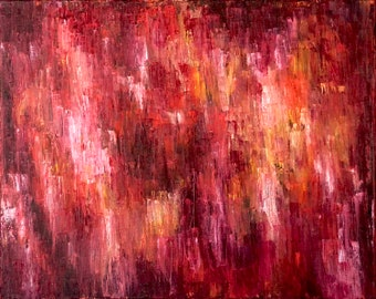 ORIGINAL Oil Abstract Red Pink Yellow Art Painting, Oil on Canvas, Rain Water Inspired Artwork, Abstract Colorful Art by Erica PrasadPrasad