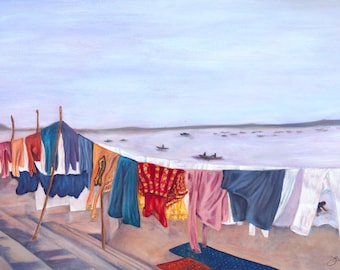 India Varanasi Clothesline Ganges River Art Bohemian Original Oil Painting, Print Purple Colorful Wall Art Decor Boho Erica Prasad