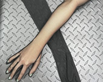 Opera-length Sheer Stretch Mesh Gloves