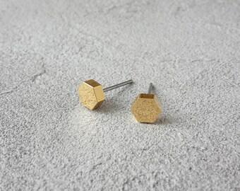 Hexagon stud Earrings Gold, small hexagon earrings yellow gold, small gold studs, minimal earrings, hexagon stud earrings, 16K gold plated