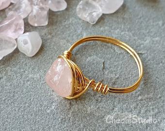 Rose Quartz Mini Adjustable Crystal Healing Ring
