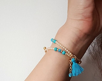 Pearl Bracelet, Stacking Bracelet, Tassel Bracelet, Gold Bracelet, Bridesmaid Gift, Dainty Bracelet, Beaded Bracelet, Wrap Bracelet