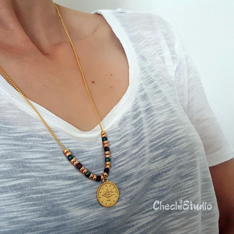 Gold Layered Necklace Long Dainty Necklace Gold Coin Necklace with Miyuki Beads Beaded Necklace Boho Necklace Gold Chain Necklace