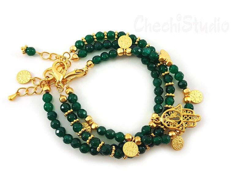 Gemstone Bracelet Boho Bracelet Beaded Bracelet Set Gemstone Jewelry Bridesmaid Gifts Stacking Bracelet Gold Charm Bracelet