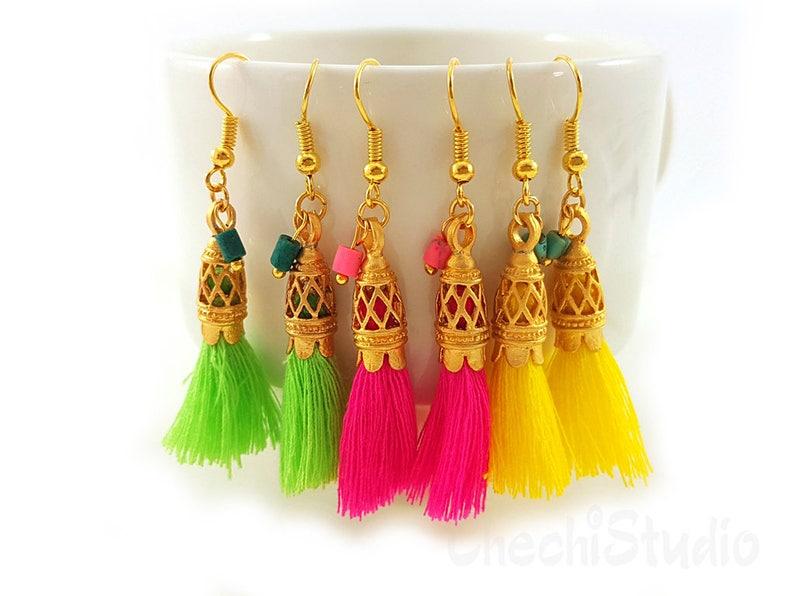 Boho Earrings Tassel Jewelry Bridesmaid Gift Gold Tassel Earrings Mini Tassel Earrings Tassel Jewelry Tassel Earrings Fringe Earrings
