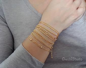 Dainty Bracelet, Stacking Bracelet, Gift for Her, Layering Bracelet, Gold Bracelet, Gold Chain Bracelet, Dainty Gold Bracelet