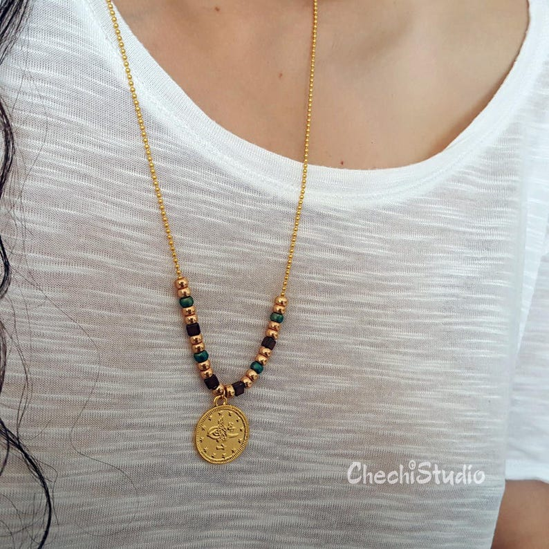 de7cc8e6f Gold Coin Necklace with Miyuki Beads Long Dainty Necklace image 0 ...