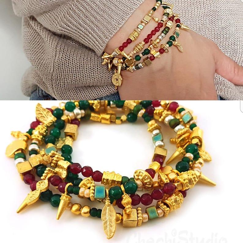 Gold Bracelet Gemstone Bracelet Wrap Bracelet Boho Bracelet Beaded Necklace Beaded Charm Bracelet Charm Bracelet Stacking Bracelet