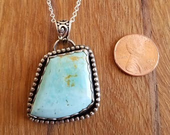 """Blue Gem Mine turquoise pendant with 22"""" sterling silver chain."""