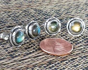 Labradorite and silver post earrings