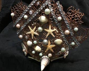 mermaid crown,headpiece,fantasy,masquerade,costume,headdress,crown, sea, water nymph, siren,festival,merman, selkie,beach wedding,mermaid