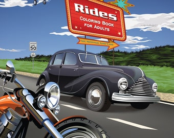 Rides. Do you like cars, motorcycles and more?  This adult coloring book is for you!